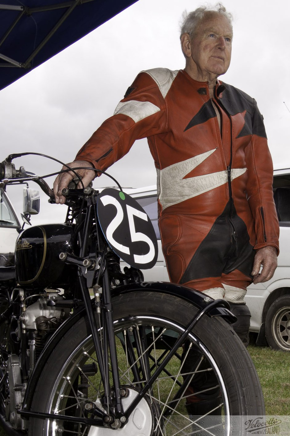Peter Butterworth portrait with his 1935 Velocette KTT, Pukekohe Classic Festival, February 2012, Classic Motorcycle racing
