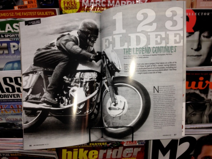 1-2-3 Eldee; The Legend Continues, Opening spread, Chris Swallow, 7 page feature article, campaign to race Eldee Velocette Special, Isle of Man, August 2014