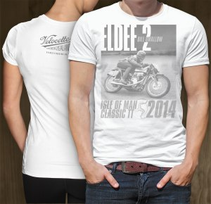 Combined front view of the 'Eldee Velocette' Logo design on a white men's tshirt with rear view of small VRNZ logo print on back of women's shirt, both garments printed front and back