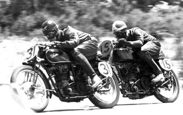31 Les Diener, 15 Alan Burt, Mildura Grand Prix, Velocette, South Australia