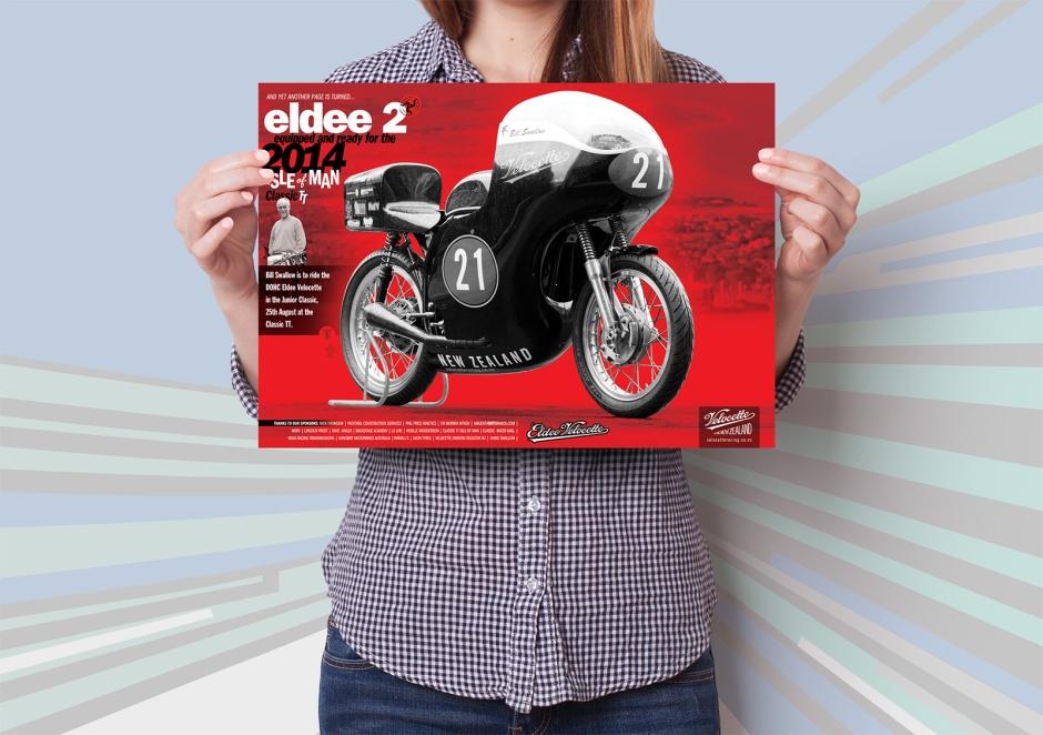 Eldee 2, Velocette, launch poster, A3, mockup