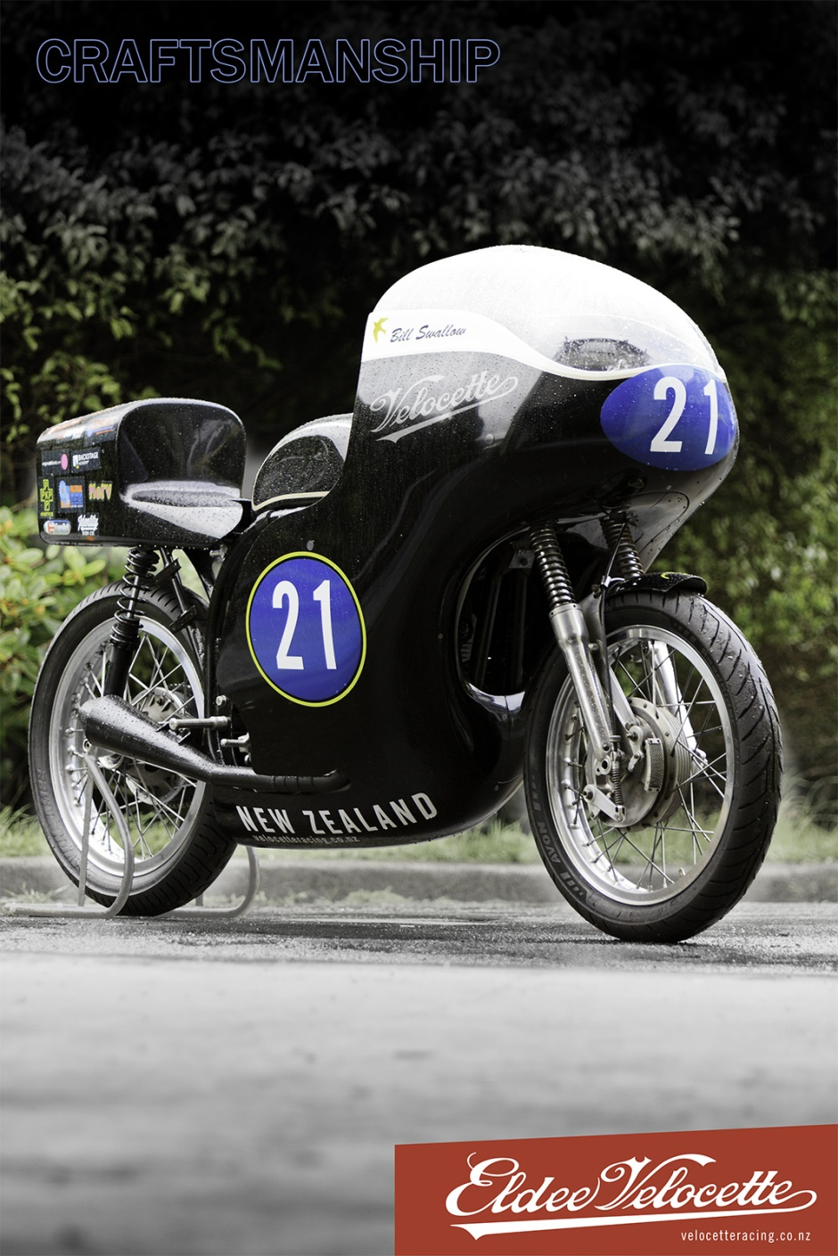 Eldee Velocette, front three-quarter, poster, A2, portrait, Craftsmanship, carbon fibre seat, petrol tank and fairing, rider, Bill Swallow, flying swallow mark, publicity photo, photographer, Shaun Waugh, MagentaDot Brands, ram air fairing