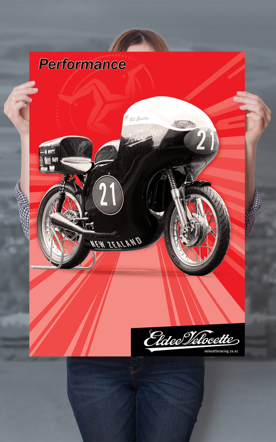 Eldee Velocette, front three-quarter, red, poster, A2, Performance, Portrait, mock-up