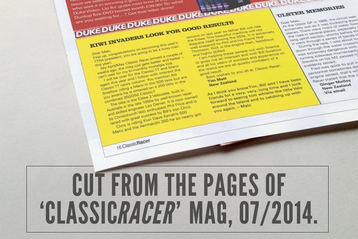 Classic Racer Magazine, Eldee Velocette letter, Kiwi Invaders look for good results,