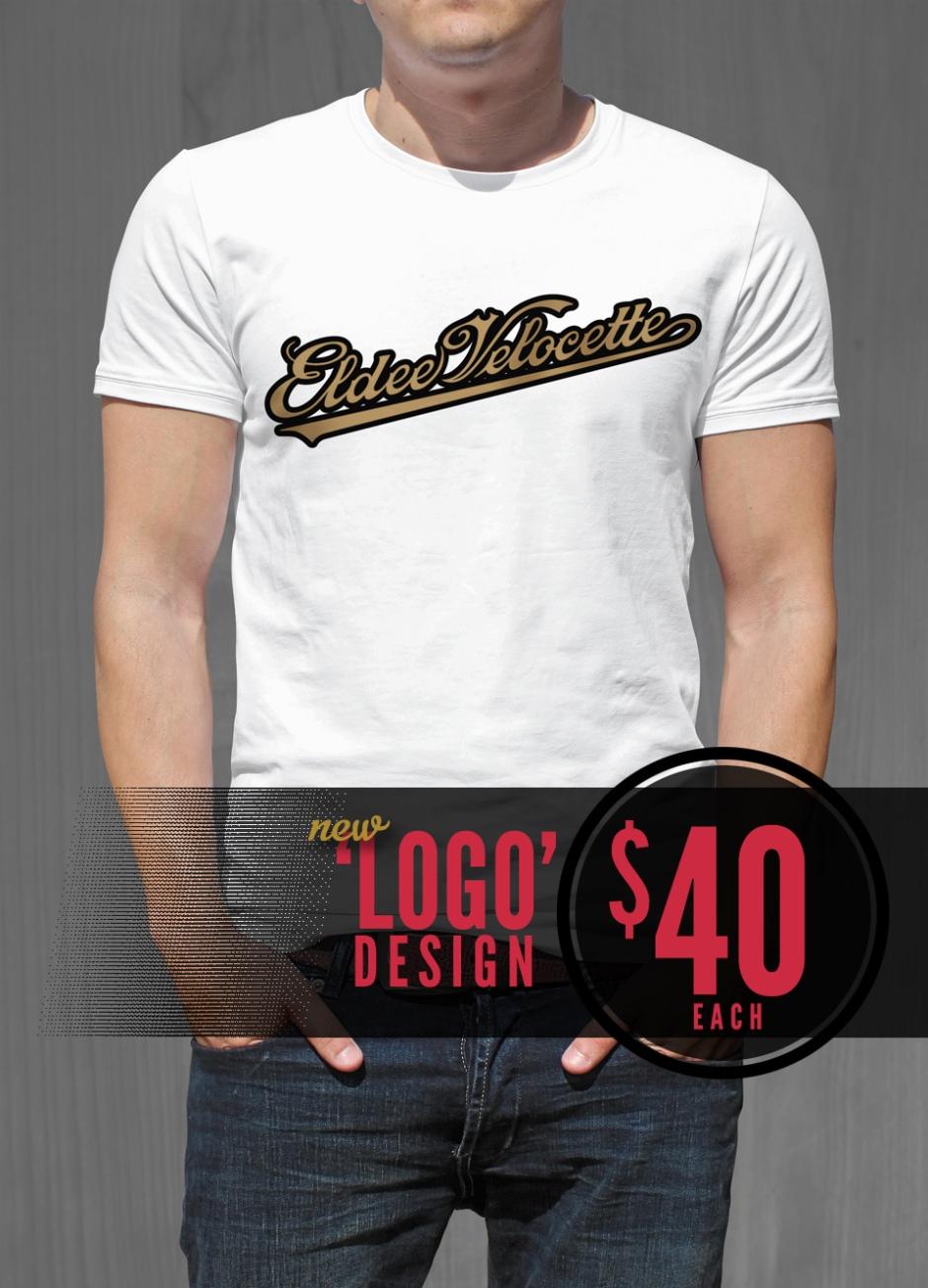Eldee Velocette, Logo design, t-shirt design, front of white shirt, Velocette Racing New Zealand, MagentaDot Brands.