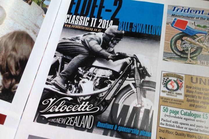 Eldee-2, VRNZ, magazine advertisement, ClassicRacer, Les Diener, Bill Swallow, Classic TT 2014