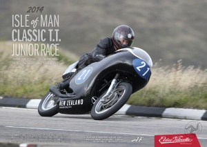 Isle of Man Classic T.T. Junior Race. Bill Swallow rounds The Bungalow aboard Eldee 2 during practice. A2 Landscape Poster. Photo Credit: Russell Lee/Sport-pics