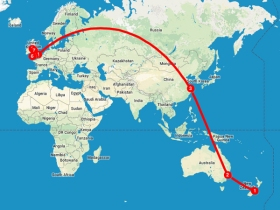 Travel itinerary map, Christchurch to Isle Of Man.