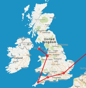 Travel itinerary map, London to Isle Of Man.