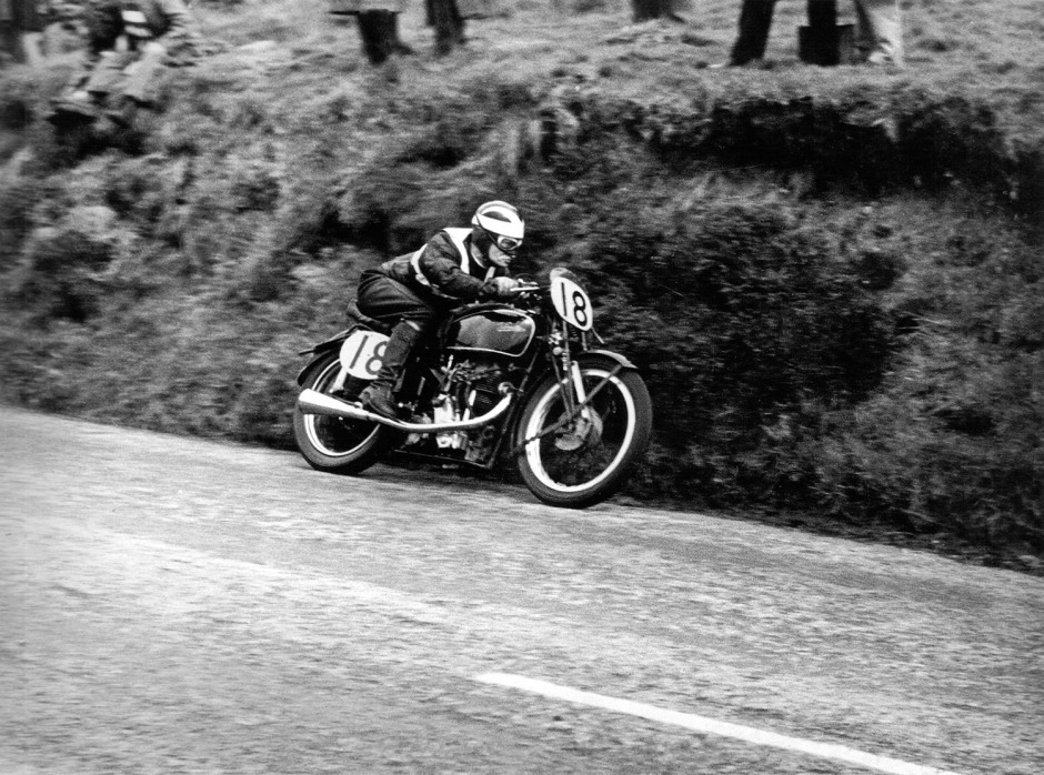 Arthur Wheeler at Kate's Cottage, Isle of Man, Junior M.G.P. 1948.