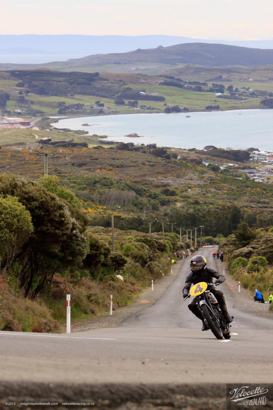 Big Velo 500, Bill Biber, Bluff Hill, Bluff HIll Climb, Burt Munro Challenge, Flagstaff Road, Motupohue, NZ Hill Climb Champs, Rider 4, Velocette