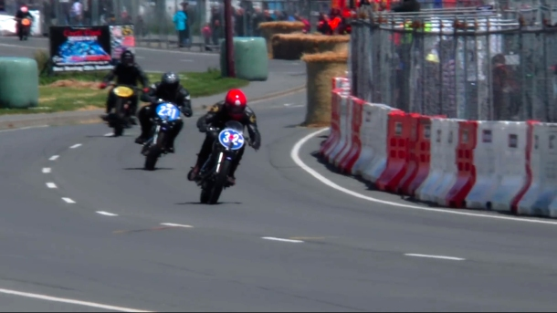 The Phil Price Velos lined up 1-2-3 moments before the finish of the Classic Pre '63 girder forks class race. Click on the image links to the Velocette Racing Burt Munro Challenge 2015 short film by Theo McDonald, duration 8:41.