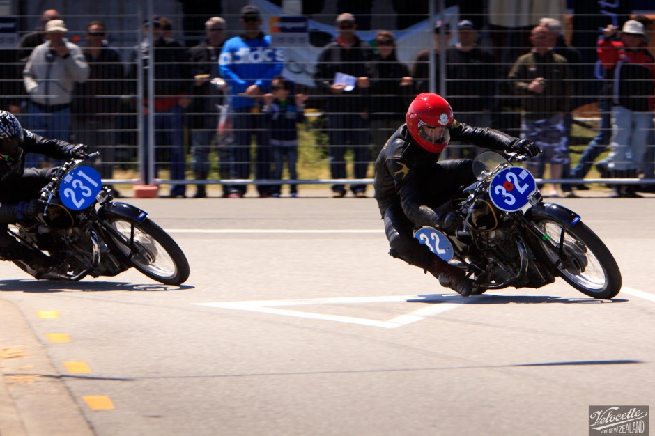 Chris Swallow aboard KTT 1041, leads Cloud Craig-Smith (KTT 1079) to a historic Velocette 1, 2, 3, class win in the Honda Invercargill Street Races at the 2015 Burt.