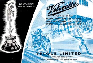 Velocette 1949 catalogue back cover.