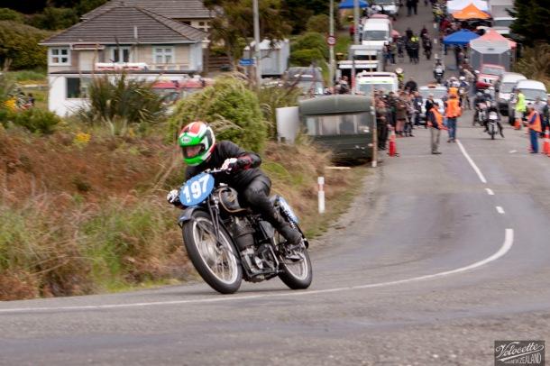 350cc, Bluff Hill, Bluff HIll Climb, Burt Munro Challenge, Flagstaff Road, KTT 350, KTT MK VIII, Motupohue, New Zealand, NZ Hill Climb Champs, Phil Price, Rider 197, Velocette
