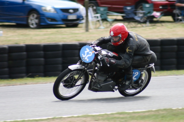 Chris Swallow on the new twin cam Velocette Teratonga february 2018.